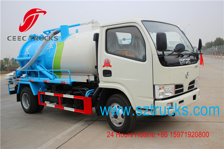 Cesspit Emptier Truck 4000Ltr to 6000Liters Vacuum Suction Fecal Pump Tank Truck 95HP Diesel Engine