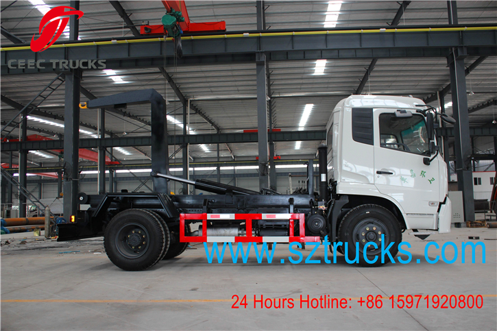 4x2 roll on roll off garbage trucks working vedio