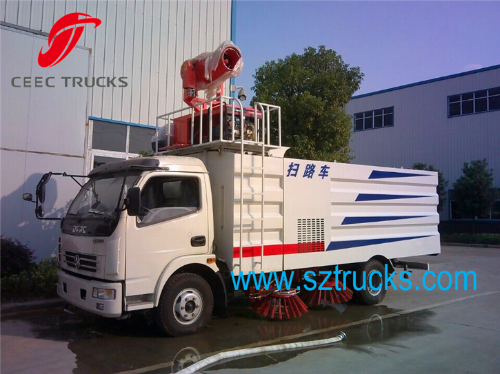 Multifunction road sweeper trucks with pesticide spraying system