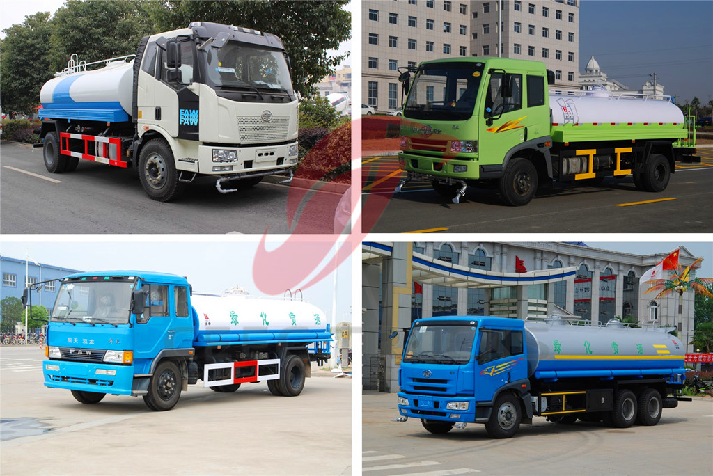Overview of CEEC produced FAW brand water tanker trucks