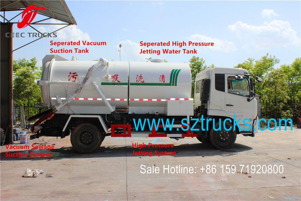 Combined jetting vcuum sewage suction trucks