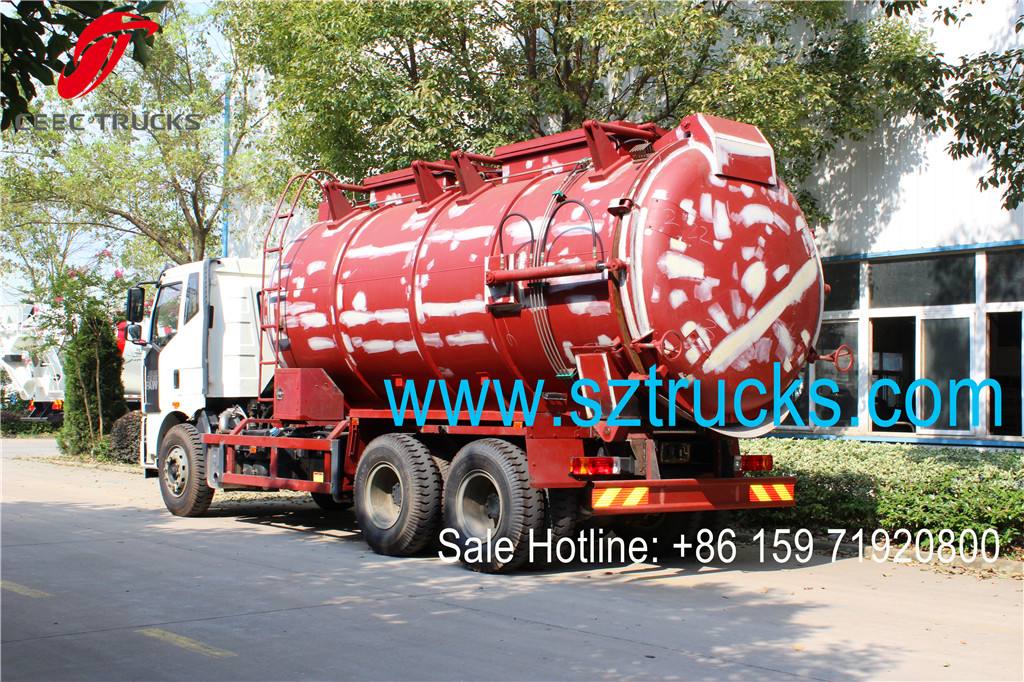 Cheaper price factory hot sale FAW 18CBM vacuum sewage suction tanker trucks
