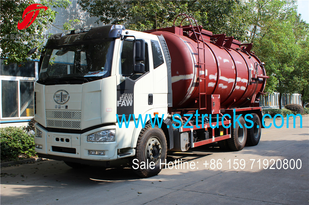 Multiple function FAW brand 6x6 AWD sludge collection and transportation tanker truck