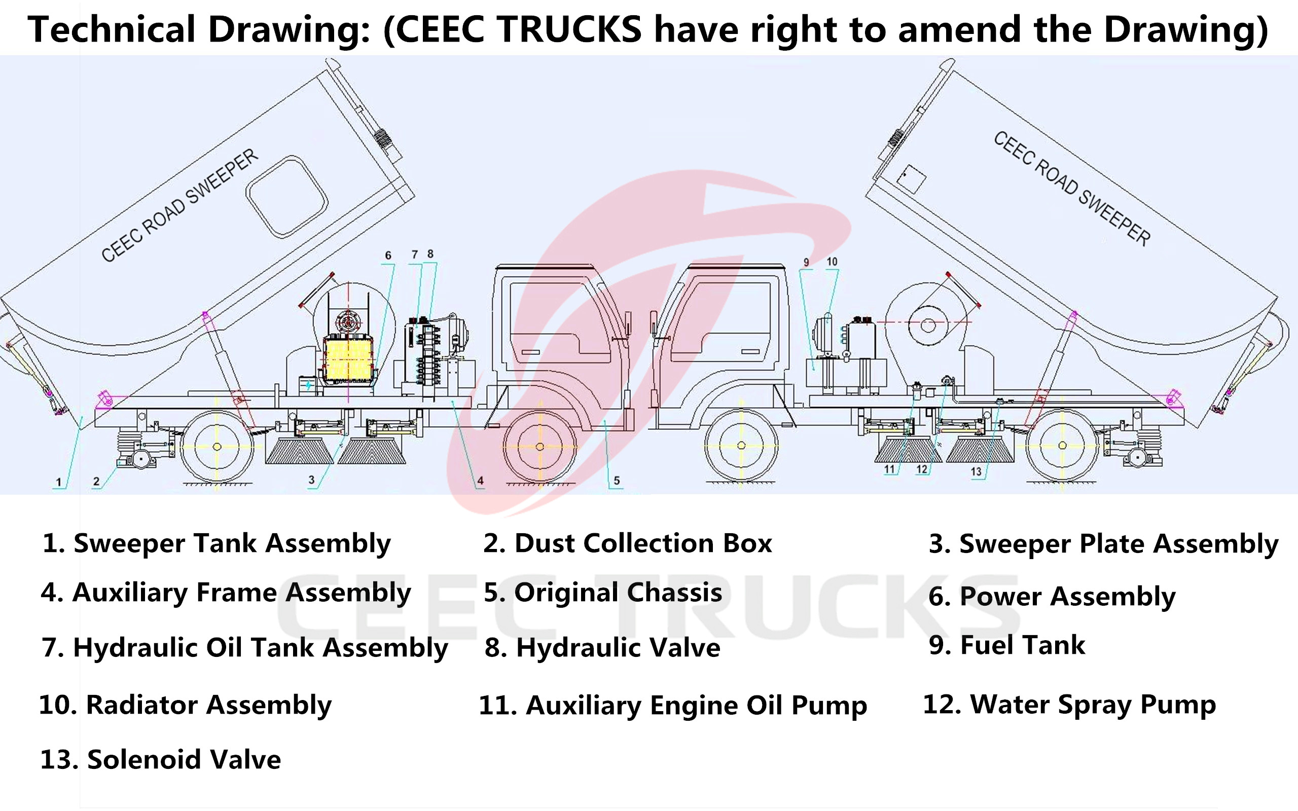 Technical drawing for CEEC road sweeper trucks