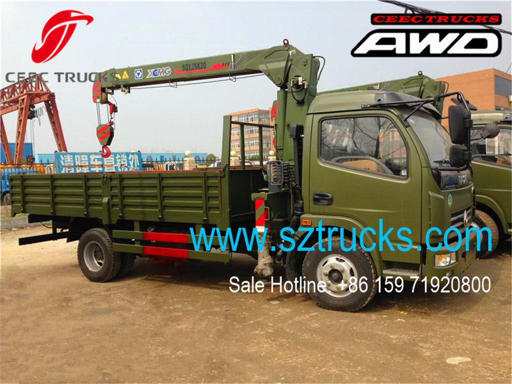 DFAC low price hot sale truck mounted crane 4x4 chassis