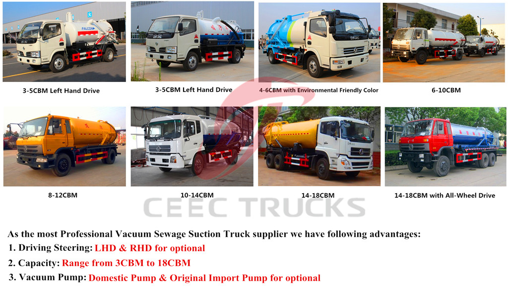 Optional vacuum sewage suciton tanker trucks