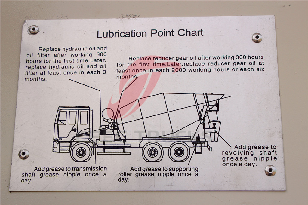 DFAC 6x6 AWD concrete mixer trucks lubrication point chart