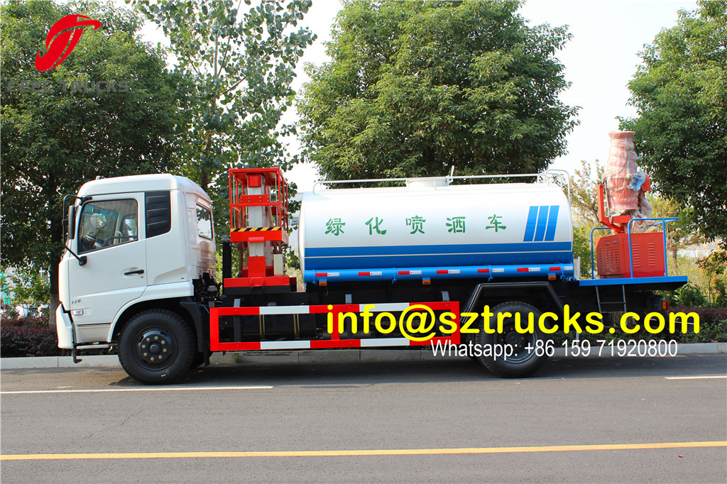 Hydraulic lifting platform installed on Water sprinkler truck