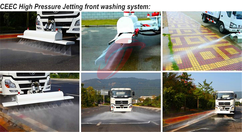 High pressure jetting truck front washing system