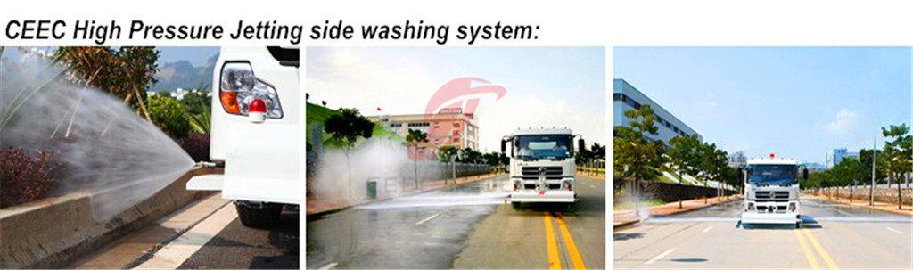 High pressure jetting truck side washing system
