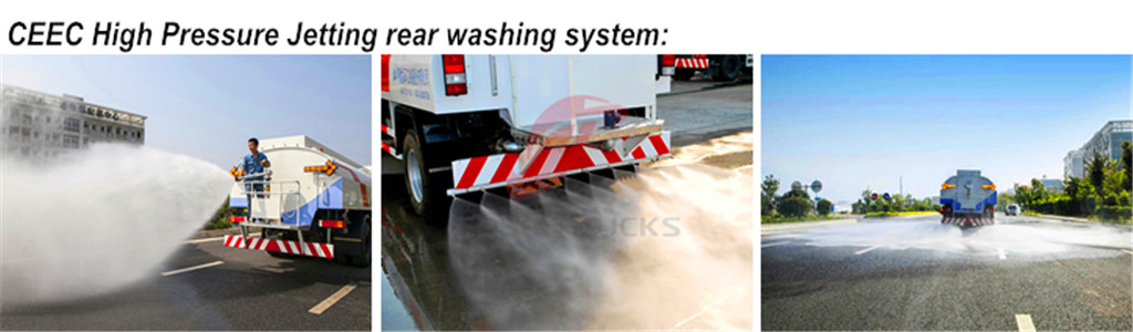 High pressure jetting truck rear washing system