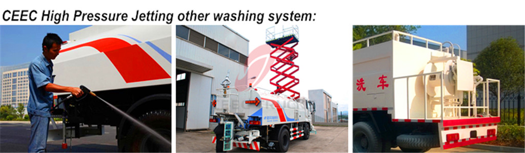 High pressure jetting truck optional washing system