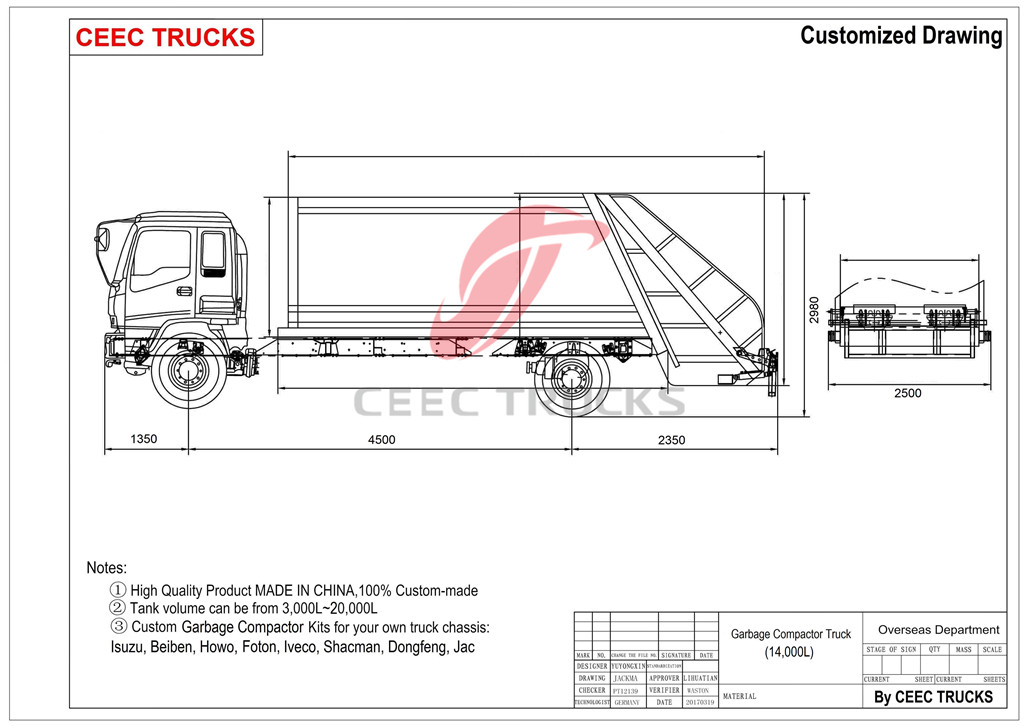 Dongfeng 14cbm refuse compressed truck drawing