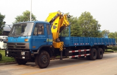 Best quality 10Tons DFAC truck cargo boom crane